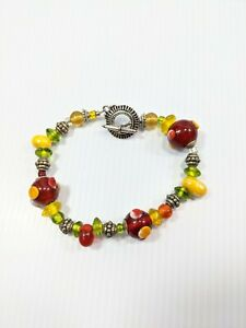 Artisan Silver Tone Red Green Yellow Glass Lampwork Toggle Bracelet 9 Inches