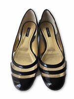 DOLCE & GABBANA BLACK PATENT LEATHER FLATS WITH SEE-THROUGH DETAIL, 38, $595