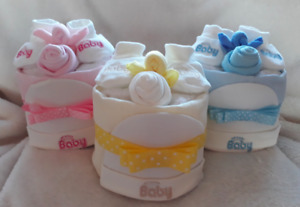 Baby boy girl unisex single tier nappy cake, baby shower gift, maternity gift
