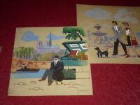 [E. DANCRE 1901-1977] PARIS GOUACHE ORIGINALE Signée 1930 Bouquiniste NOTRE DAME