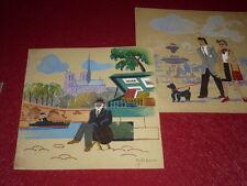 [EMILE DANCRE 1901-1977] PARIS GOUACHE ORIGINALE Signée 1930 Bouquiniste ArtDeco