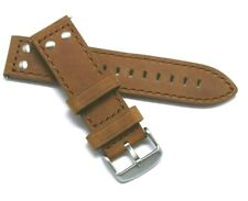 22mm Brown Rivet Style Crazy horse Leather Replacement Watch Strap - TW Steel 22