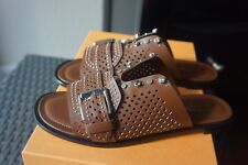 $675+NEW Tod's Brown Flat Perforated Studded Leather Sandals Sz IT 39/US 9