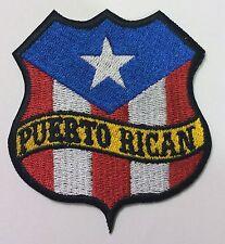 PUERTO RICAN FLAG SHIELD BIKER PATCH