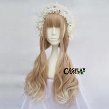 65CM Lolita Mixed Light Brown Ombre Neat Bang Long Wavy Cosplay Hair Cute Wig