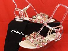 15C NIB CHANEL RED SEQUINS TWEED JEWELED CHARMS CC LOGO SANDALS 40.5 $3850