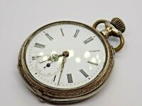 ANTIQUE 800 SILVER SWISS MADE POCKET WATCH. 62 GRAMS. RUBIS 6. FOR REPAIRS. (NCB