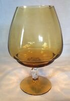Lovely Collectable Vintage/retro Large Twisted Stemmed Amber Glass Goblet