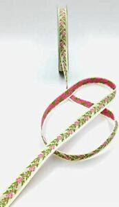 """White with Pink & Green Flowers 1/2"""" Woven Edge Jacquard Ribbon - 10 Yards"""