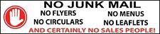 No Junk Mail Leaflets Menus Flyers Sales People Letterbox Sticker Warning Sign