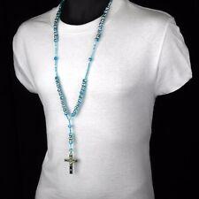 Men HipHop 8mm L BLUE Bead Silver Cz Rosary Jesus Cross Religious Necklace Chain