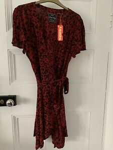 Women's Superdry Real Vintage Red Leopard Print Wrap Dress Size 14 BNWT