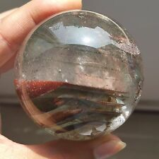 """311g Natural """"Green&Red Ghost """" Quartz  Crystal Sphere Ball Healing W1121"""