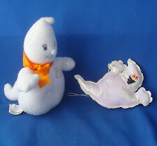 "6"" Hallmark Halloween plush Glimmer ghost bean bag figure 4"" iridescent ornament"