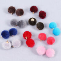 Faux Fur Ball Pompom Keyring Earring Ear Stud Clip Charm Pendant Accessory DIY
