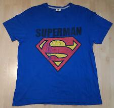 Superman T Shirt Tee Top Short Sleeves Burton Menswear Crew Neck Blue Size XL