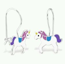 925 Sterling Silver Purple Unicorn Dangle Earrings Pegasus Horse Boxed Dangle