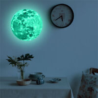 30cm 3D Large Moon Fluorescent Wall Sticker Removable Glow In The Dark Decal JIT