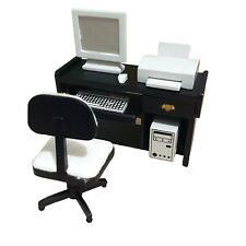 Dollhouse Laconic Computer Desk Chair Printer Set 1:12 Miniature Accessories