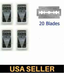 20 Feather razor blades pack new Hi-Stainless double edge platinum coated red