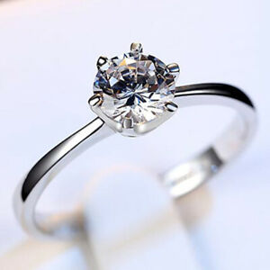 Womens Jewelry Crystal Wedding Bridal Party Engagement Ring Silver Rings Size 6