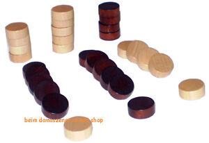 Holz Spielsteine Checkers Steine für Backgammon Tavli verschiedene Größen NEU