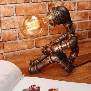 Water Robot  Pipe Table Lamp Steampunk Vintage Loft Decor Industrial Desk LIght