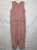 Vintage 80s 90s Laura Ashley Pink Floral Romper Jumpsuit 11-12 Large Cottagecore