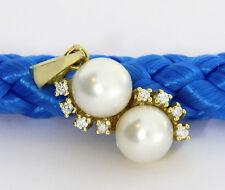 Colgante Brillante Perlas Perlas De Agua Dulce Oro Amarillo 585 Nuevo (33226)