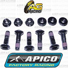 Apico Black Rear Sprocket Bolts Locking Nuts Set For Yamaha YZ 125 2008 MotoX