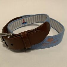 Peter Millar REEL POINT SIZE 36 Brown Leather Blue Needlepoint Royal Oaks CC