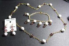 White/Purple Swivel Bead/Swarovski Crystal Necklace,Bracelet And Earrings