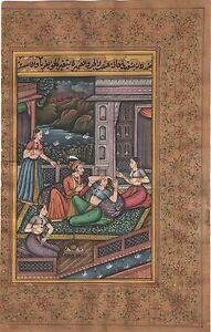 Indian Mughal Miniature Paper Painting Moghul Harem Erotic Handmade Decor Mughal