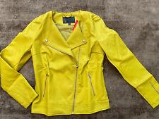 BonPrix BPC Yellow Green Faux Leather Biker Jacket Size 10 NEW