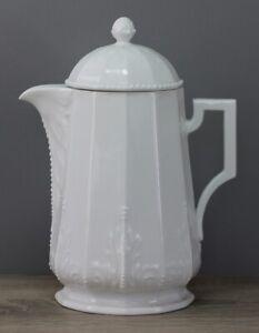 Nymphenburg Perl weiß Kaffeekanne Kanne mit Deckel Höhe ca. 21,8 cm