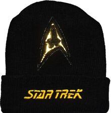 Star Trek Wool Hat Black Beanie Knit TV Series Movie Logo Spock Kirk Command