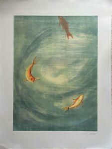 Lorenzo Lazzeri incisione acquatinta Acquario 80x60 firmata numerata
