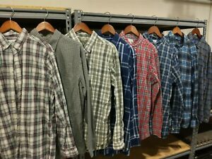 Men's Plaid Long Sleeve Dress Shirt Size LARGE TALL LT - MIXED LOT OF 8