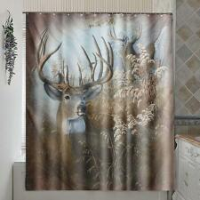 Deer Polyester Fabric Shower Curtain Panel Sheer Home Bathroom Decor w/ 12
