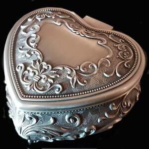 GORGEOUS Small Heart Pewter Finish Embossed Ladies Jewellery Box Birthday Gift