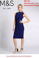 M & S Ladies Marks Spencer SLEEVELESS BODYCON SUMMER Work BLUE DRESS 8 to 18