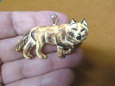 j-wolf-31 Brown Wolf walk aceh bovine bone carving Wolves pendant Jewelry coyote