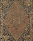 Antique Geometric Abadeh Evenly Low Pile Hand-knotted Area Rug Wool Oriental 4x4