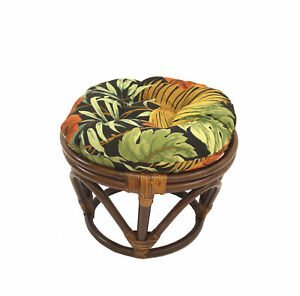 Rattan Ottoman with Outdoor Fabric Cushion -Paprika