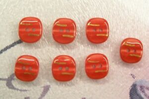 7 vintage (unused) red glass buttons/gold lustre decoration/13 mm.diam.