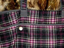 Women's Bag & Belt Grey Plaid Wool American Eagle Outfitters (both pieces)