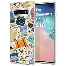 Thin Gel Phone Case for Samsung Galaxy Note 10,S10,A10E,Travel Stickers Print