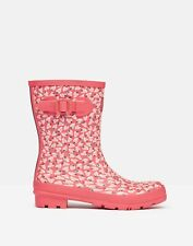 Joules Womens 215528 Mid Height Printed Wellies - Red Mini Strawberry