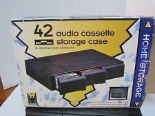 Home Storage 42 Cassette Storage Case Faux Black Wood Grain Plastic Drawers