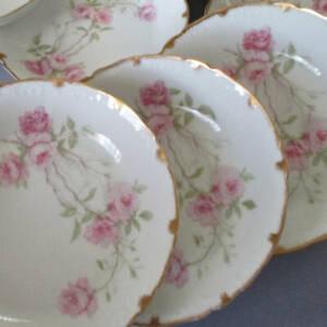 """Set 11 Antique HAVILAND Porcelain 7.5"""" Bowls BALTIMORE ROSE Pink Roses GILT Trim"""